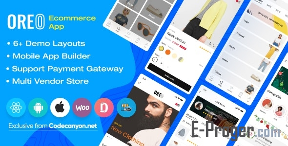 Oreo Fashion v2.4.1 - приложение Full React Native для Woocommerce